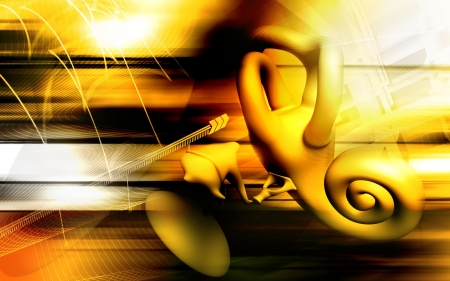 the cochlea: Digital illustration of  ear in colour  background