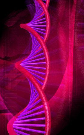 Digital illustration DNA structure  in colour background  Stock Illustration - 5263643