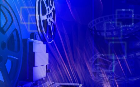 operational: Digital illustration of a vintage projector in blue colour