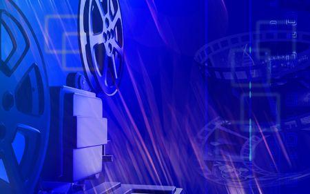 Digital illustration of a vintage projector in blue colour   illustration