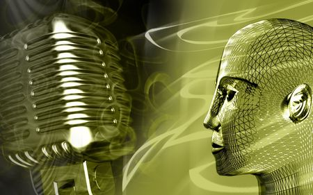 Digital illustration of steel microphone in green colour   illustration
