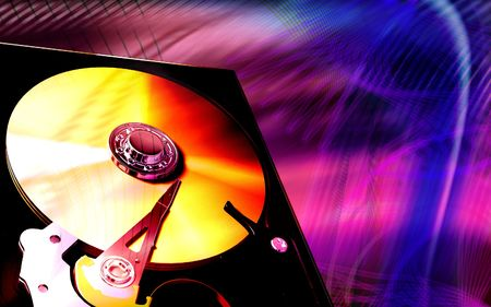 portable rom: Digital illustration of compact disc reader in colour background
