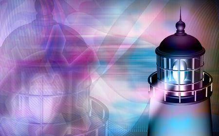 Digital illustration of a light house with blue light Stock Illustration - 5263727