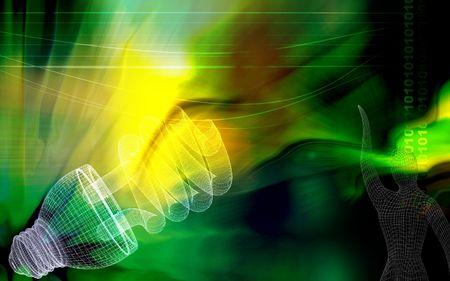 light emission: Digital illustration of a CFL light in colour background