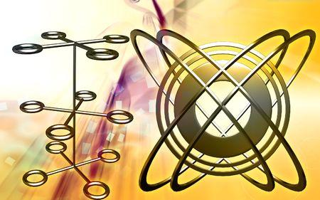 light emission: Digital illustration of emission of rays in color background