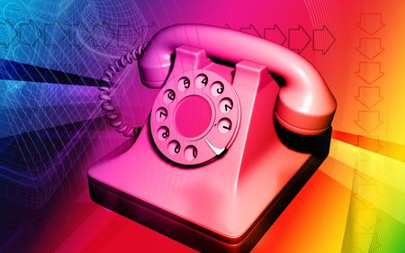 shiver: Digital illustration of telephone in red colour
