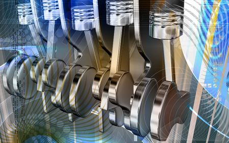 chrome cylinder: Digital illustration of pistons working in a five stroke engine Stock Photo