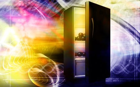 stocked: Digital illustration of fruits in a refrigerator in colour background
