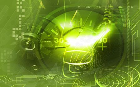 ammeter: Digital illustration of a Ammeter in Green Glows
