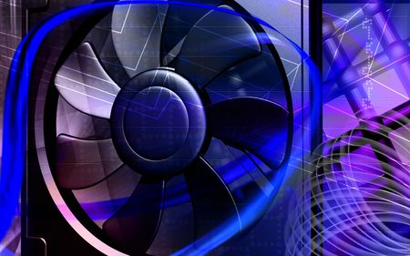 coolant: Digital illustration of a computer cooling fan