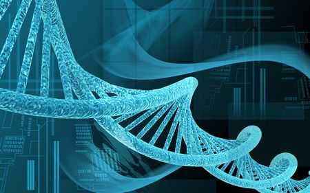 clones: Digital illustration DNA structure  in colour background   Stock Photo