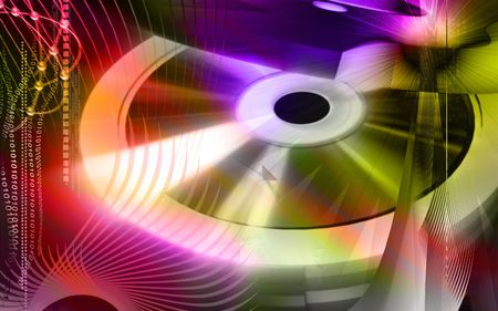 compact disk: Digital illustration of  compact disk in colour background