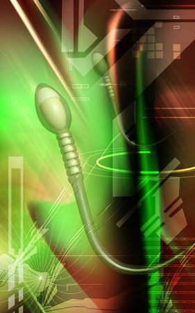 Digital illustration of  sperm  in colour  background  Stock Illustration - 5251658