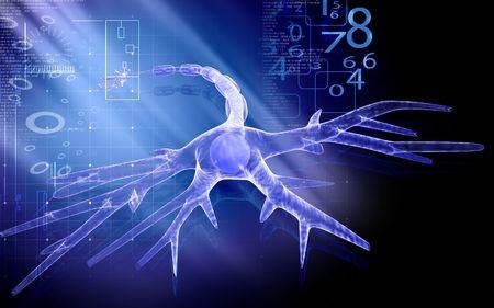 dendrites: Digital illustration of  neuron  in colour  background   Stock Photo