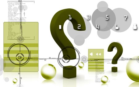 Digital illustration of question mark sign in colour backgound illustration