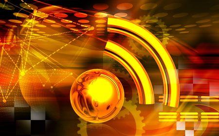 decibel: Digital illustration of Radio waves in brown  colour background