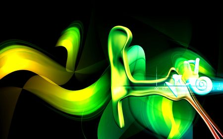 incus: Digital illustration of  ear in colour  background   Stock Photo
