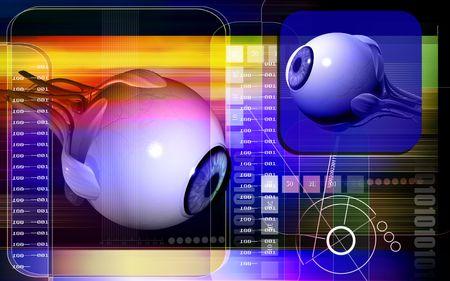 vitreous: Digital illustration of  eye   in  colour  background   Stock Photo
