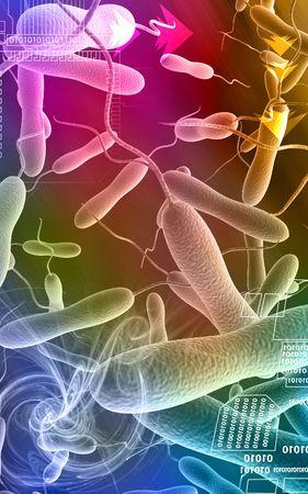 Digital illustration of cholera bacteria in   colour background  illustration
