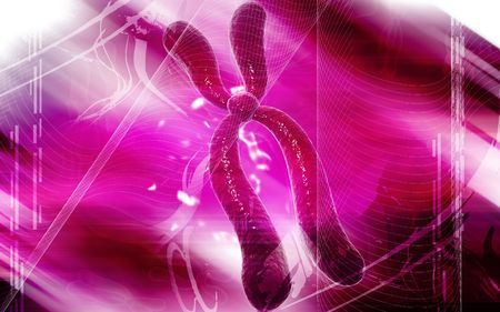 Digital illustration  of chromosome in colour background  Stock Illustration - 5386415