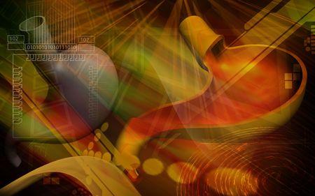 Digital illustration of  stomach  in colour  background Stock Illustration - 5386374