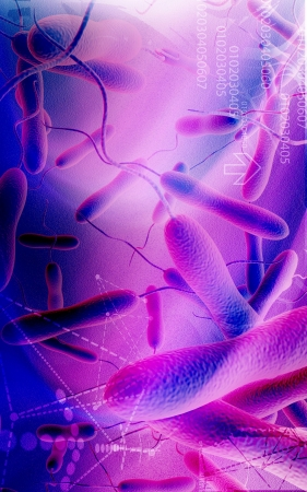 vibrio: Digital illustration of cholera bacteria in   colour background   Stock Photo