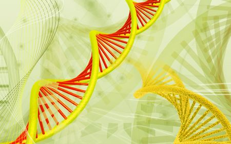 Digital illustration DNA structure  in colour background  Stock Illustration - 5388700
