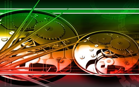 Digital illustration of gears in a dial watch  illustration