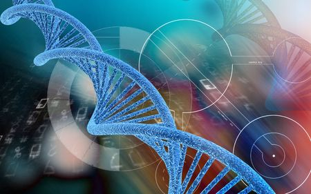 Digital illustration DNA structure  in colour background   Stock Photo