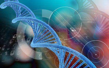Digital illustration DNA structure  in colour background   Reklamní fotografie