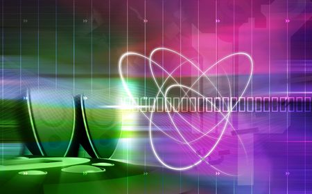 Digital illustration of speaker and swirls in colour background  Stock Photo