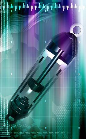 Digital illustration of  shock absorber in colour background Stock Illustration - 5410213