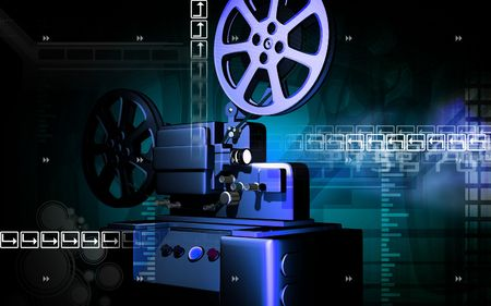 Digital illustration of vintage projector in colour background  illustration