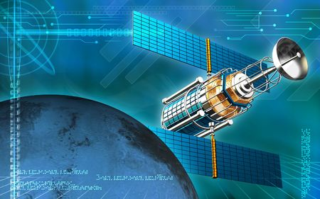 aero: Digital illustration of satellite  and earth   in colour background