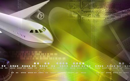 aeronautic: Digital illustration of Aeroplane in colour background
