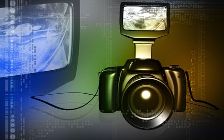 Digital illustration of a camera with blue light   illustration