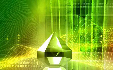 Digital illustration of refraction in a diamond  Stock Photo