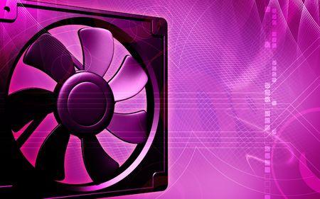 coolant temperature: Digital illustration of a computer cooling fan