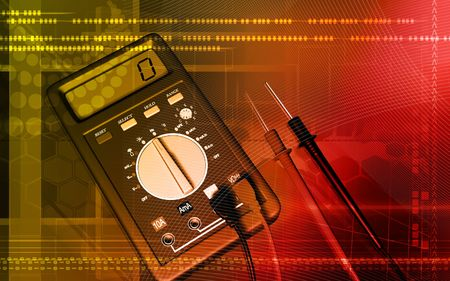 multimeter: Digital illustration of  a multimeter in colour background   Stock Photo