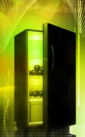 crisper: Digital illustration  of fruits in a refrigerator