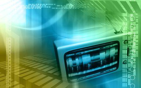 Digital illustration of a television monitor in green light   illustration