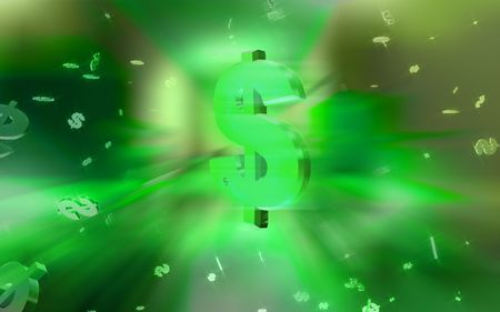 Digital illustration of Dollar sign in space in colour background Stock Illustration - 5427612