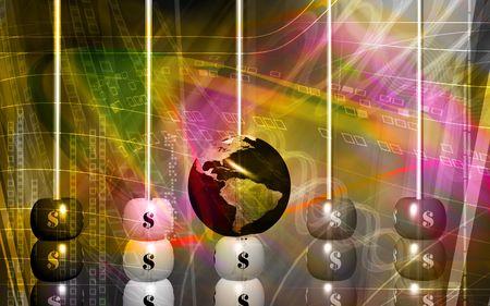 u s: Digital illustration of dollar pearl and earth   Stock Photo