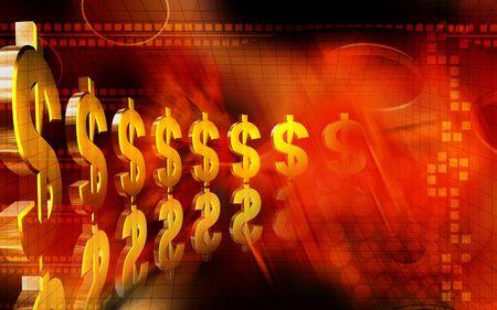 arranging: Digital illustration of dollar in colour background