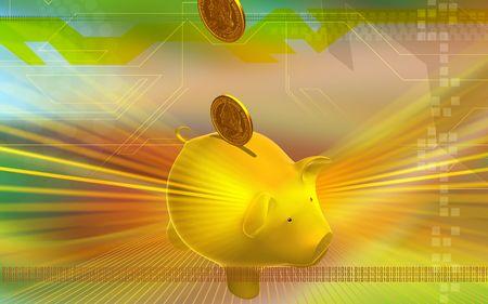u s: Digital illustration of Pig and dollar in golden colour