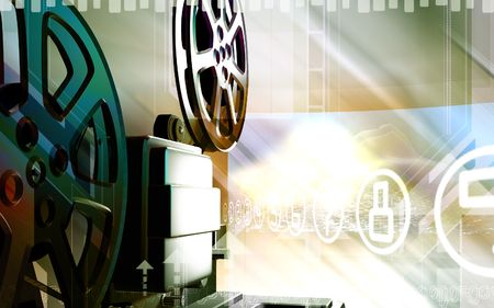 old movies: Digital illustration of a vintage projector in colour background