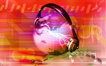 face with headset: Digital illustration of a globe with head phone