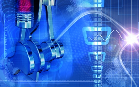 pistons: Digital illustration of pistons working in a five stroke engine
