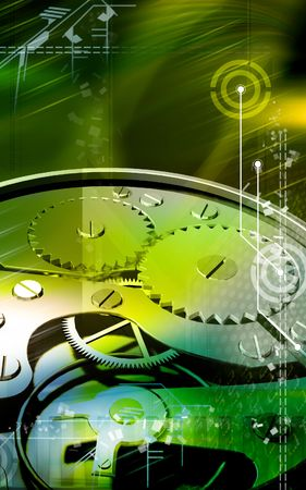 turn the dial: Digital illustration of gears in a dial watch