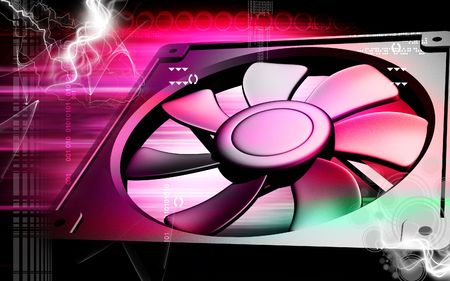 coolant temperature: Digital illustration of a computer cooling fan in colour background